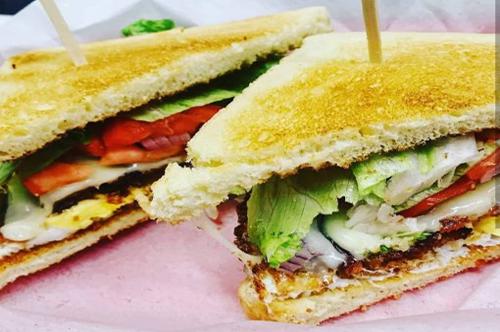 breakfast sandwich cut is half